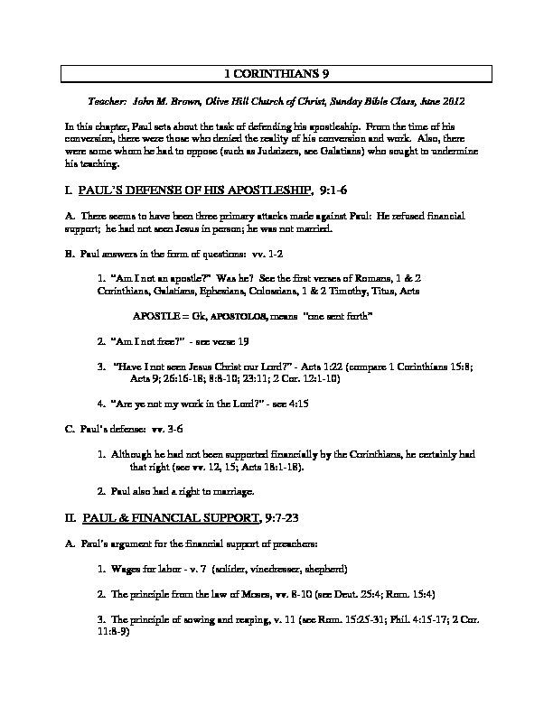 I Corinthians 9